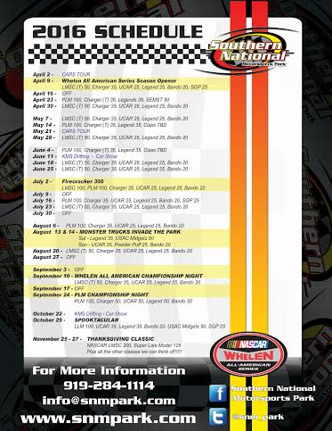 2016 SNMP Schedule