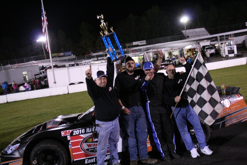 Burbage celebrates the victory at East Carolina Motor Speedway (Justin Kern/The Weekly Racer)