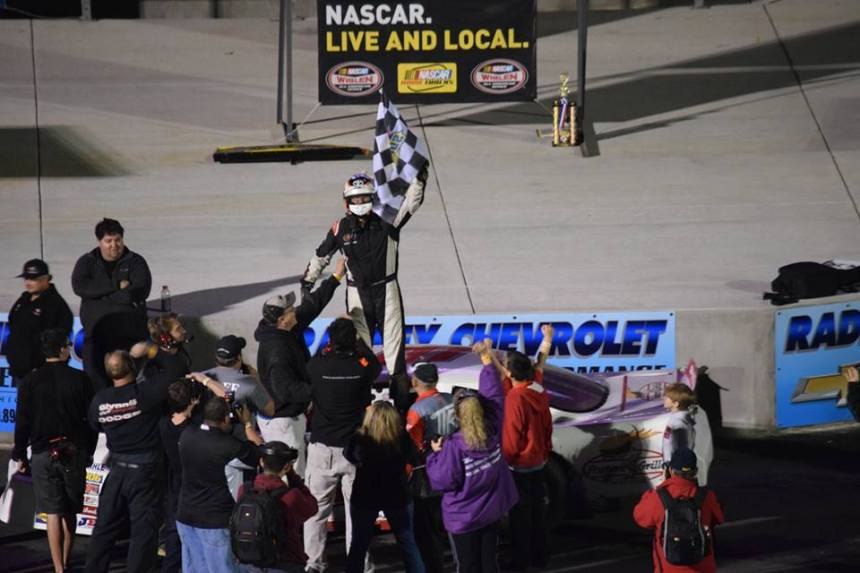 Sergio Pena Celebrates in Victory Lane at Dominion Raceway as the third different winner in 2016. (📸: Dominion Raceway)