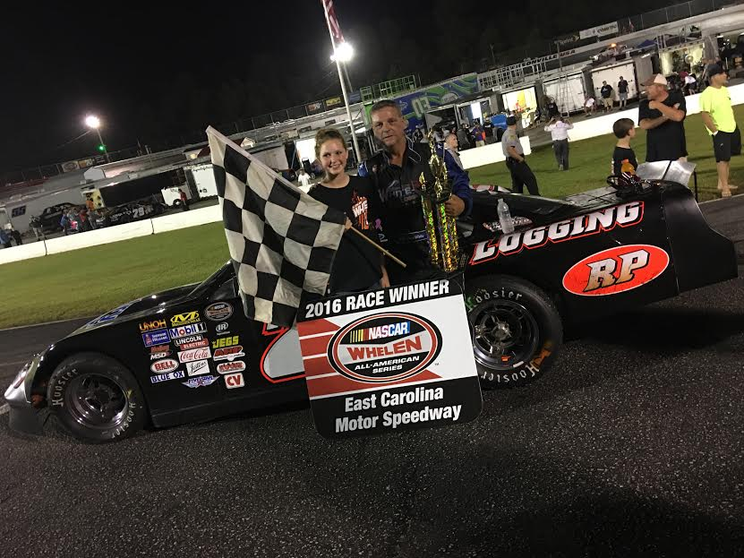 Louis White celebrates in victory lane after winning the 2016 Ronnie Barnett Memorial. His second in three attempts. (Justin Kern/TheWeeklyRacer.com)