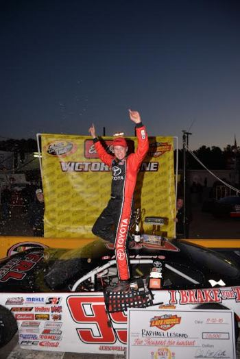 Raphael Lessard claimed his fourth win of the season on Saturday night in the CSX Play it Safe 250 presented by MMIA at Southern National Motorsports Park. The French-Canadian sensation also captured the super late model series title in addition to his victory on-track over Brandon Setzer. (Kyle Tretow / CARS Tour)
