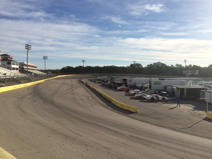 Cars lined up on the front side of pit road at The Park. (Justin Kern/TheWeeklyRacer.com)
