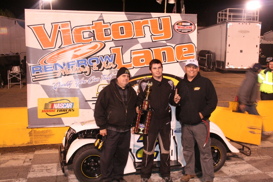 Dillion Spain celebrates in victory lane for the second night in a row at Southern National Motorsports Park. (Justin Kern/TheWeeklyRacer.com)