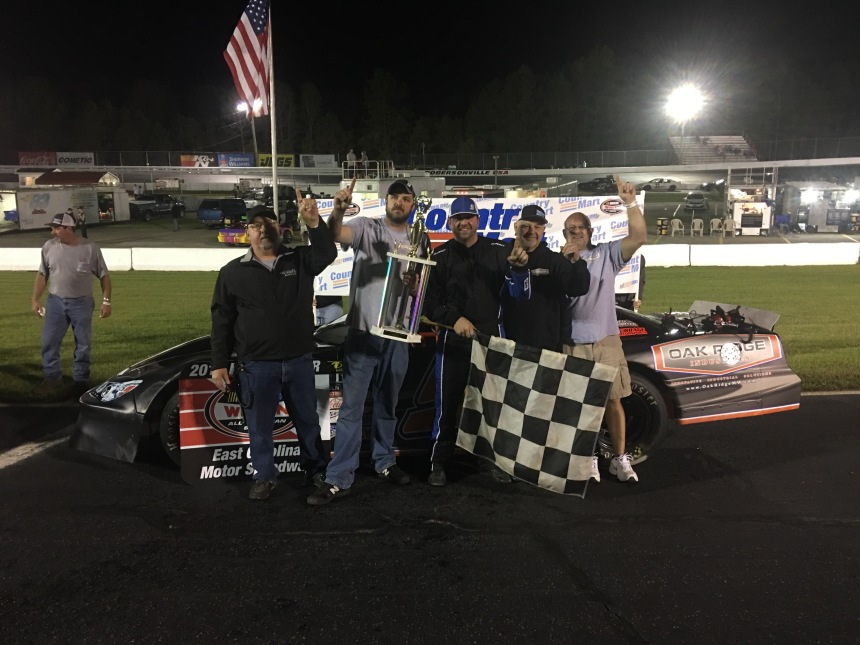 Thomas Burbage, and crew, celebrate in victory lane Saturday night, April 15, 2017, at East Carolina Motor Speedway after leading all 50-laps from the pole. (Justin Kern/TheWeeklyRacer.com