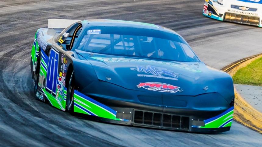 Jake Crum wheels through turn four during final practice at Martinsville Speedway. (Photo by Dinah M Thompson)