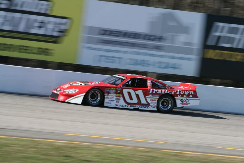 Philip Morris powers down the backstretch of Larry King Law's Langley Speedway during second practice on March 31, 2018. He would later set a new track record.