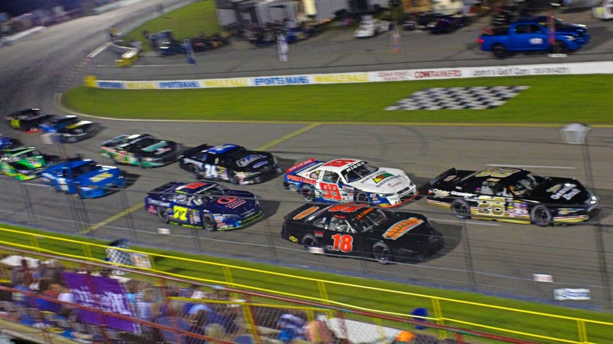 A field of Late Models takes the green flag for a restart at the Labor Day Classic at Carteret County Speedway in September 2018. (Andy Marquis photo